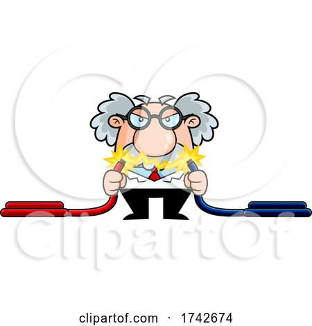 Science Professor Albert Einstein Character Showing Electricity Between Cables by Hit Toon