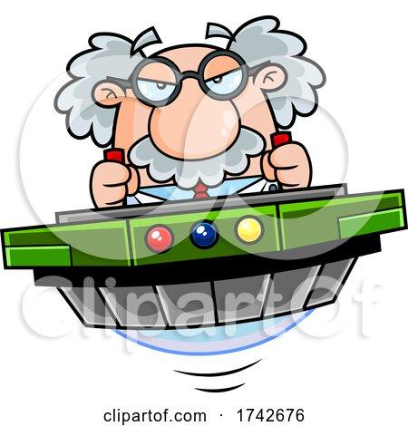 Science Professor Albert Einstein Character Flying by Hit Toon