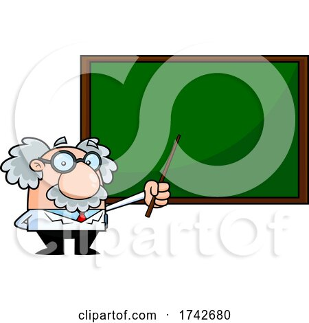 Science Professor Albert Einstein Character Holding a Pointer to a Chalkboard by Hit Toon