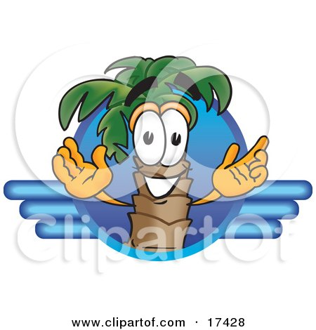 Clipart Picture of a Palm Tree Mascot Cartoon Character on a Blue Travel Business Logo by Toons4Biz