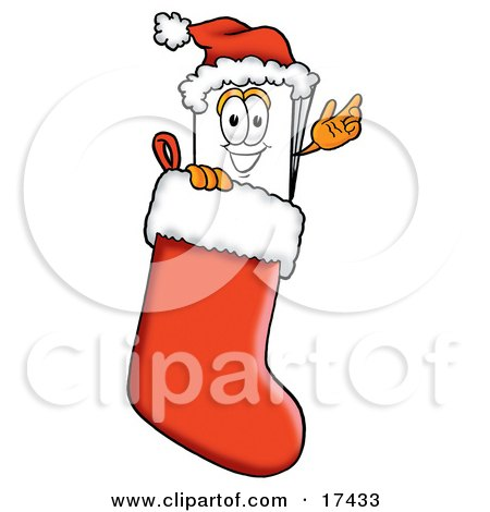 Clipart Picture of a Paper Mascot Cartoon Character Wearing a Santa Hat Inside a Red Christmas Stocking  by Toons4Biz