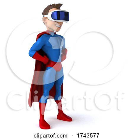 3d White Male Blue and Red Super Hero, on a White Background by Julos