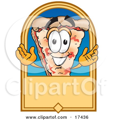 Clipart Picture of a Slice of Pizza Mascot Cartoon Character on a Blank Tan Label or Sign by Toons4Biz