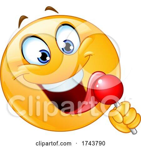 Yellow Emoticon Smiley Emoji Face Licking a Lollipop by yayayoyo