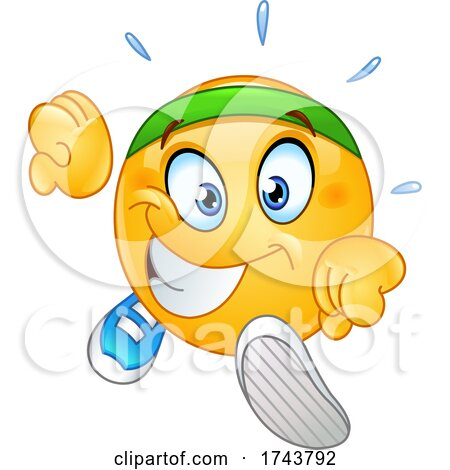 Yellow Emoticon Smiley Emoji Face Running by yayayoyo