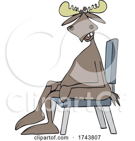 Cartoon Moose Sitting Cross Legged in a Chair by djart