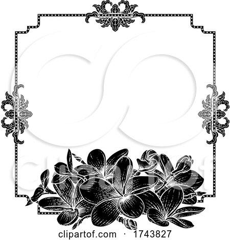 Plumeria Frangipani Tropical Flower Wedding Invite by AtStockIllustration