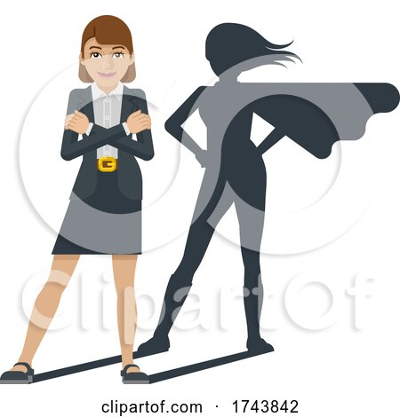 Business Woman Super Hero Shadow Cartoon Mascot by AtStockIllustration