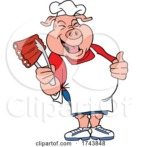 Male Chef Pig Holding Ribs and Giving a Thumb up by LaffToon
