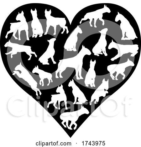 Bull Terrier Dog Heart Silhouette Concept by AtStockIllustration