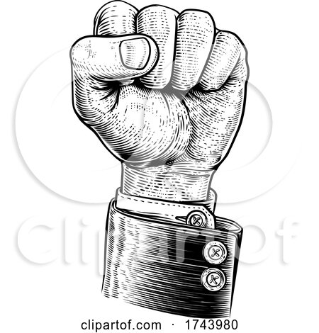 Business Fist in the Air Propaganda Poster Style by AtStockIllustration