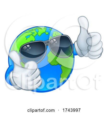 Earth Globe Shades Sunglasses Cartoon World Mascot Posters, Art Prints