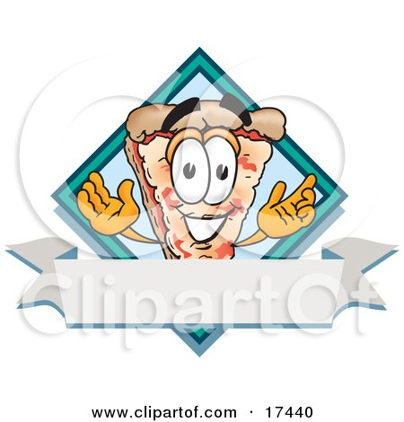 Clipart Picture of a Slice of Pizza Mascot Cartoon Character Over a Blank White Business Label Banner by Toons4Biz