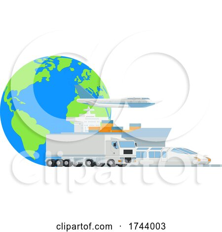 Logistic Transport Cargo World Globe Design by AtStockIllustration
