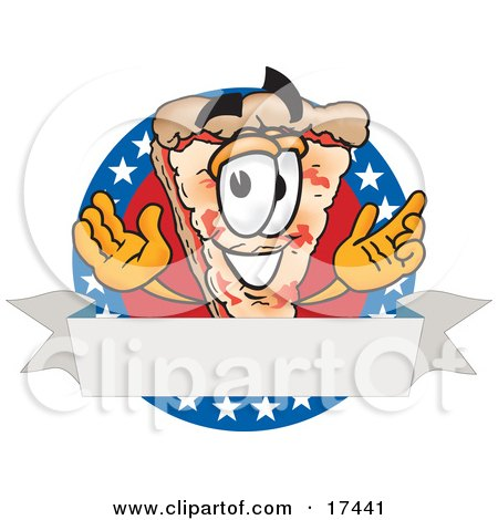 Clipart Picture of a Slice of Pizza Mascot Cartoon Character Over a Blank White Banner on an American Themed Business Logo by Toons4Biz