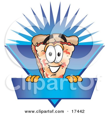 Clipart Picture of a Slice of Pizza Mascot Cartoon Character on a Blank Blue Label by Toons4Biz