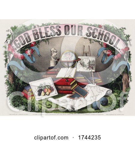 God Bless Our School Banner over Books and Supplies Posters, Art Prints