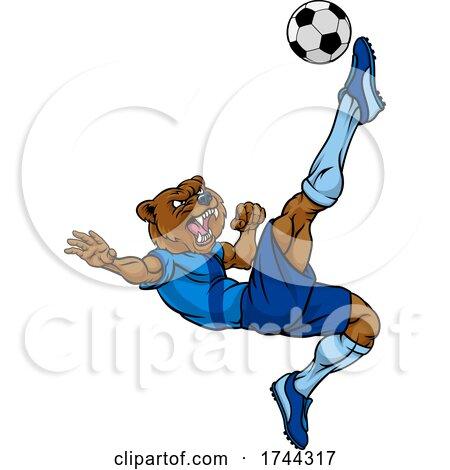 Bear Soccer Football Player Animal Sports Mascot by AtStockIllustration