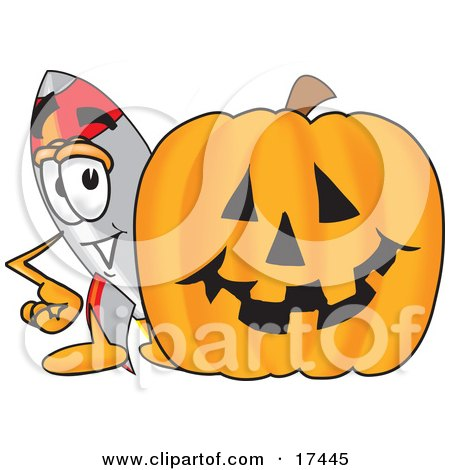 Clipart Picture of a Rocket Mascot Cartoon Character With a Carved Halloween Pumpkin  by Toons4Biz