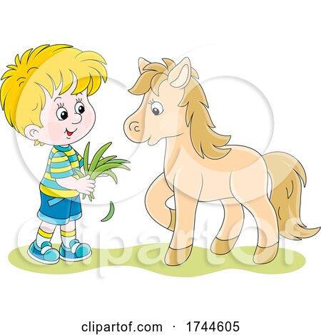 Little Boy Feeding His Pet Pony by Alex Bannykh