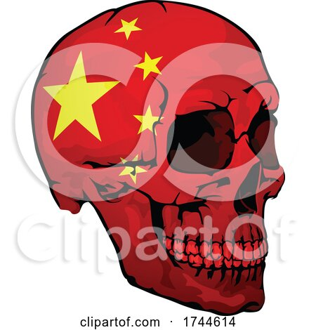 Chinese Flag Skull by dero