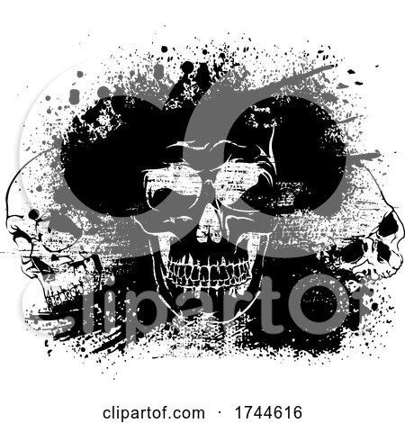 Skulls with Grunge by dero