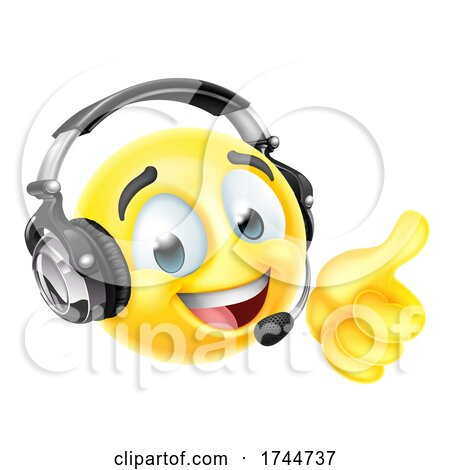 Cartoon Emoji Emoticon Face with Headset by AtStockIllustration