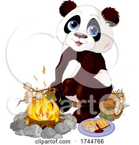 Cute Panda Roasting Marshmallows and Making Smores at a Campfire by Pushkin