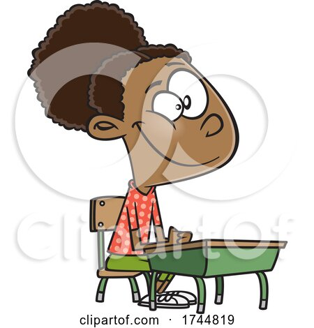 Cartoon Girl Sitting at a Desk by toonaday