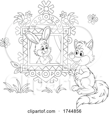 Black and White Rabbit in a Window Talking to a Fox by Alex Bannykh