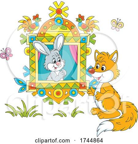 Rabbit in a Window Talking to a Fox by Alex Bannykh