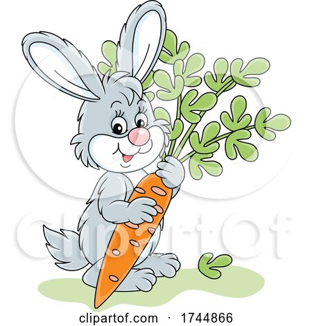 Cute Rabbit with a Carrot by Alex Bannykh