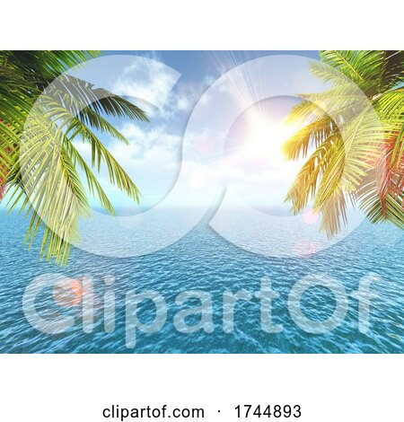 3D Tropical Landscape with Palm Trees Against the Blue Ocean by KJ Pargeter