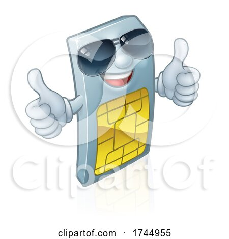 Sim Card Thumbs up Cool Shades Cartoon Mascot by AtStockIllustration