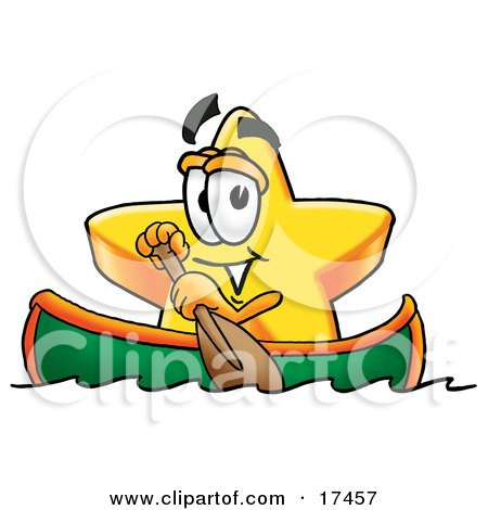 Clipart Picture of a Star Mascot Cartoon Character Rowing a Boat by Toons4Biz