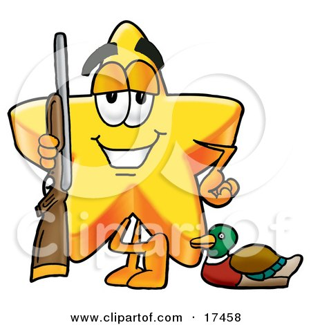 Clipart Picture of a Star Mascot Cartoon Character Duck Hunting, Standing With a Rifle and Duck by Toons4Biz