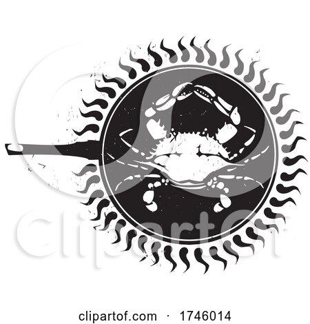 Woodcut Frying Crab by xunantunich