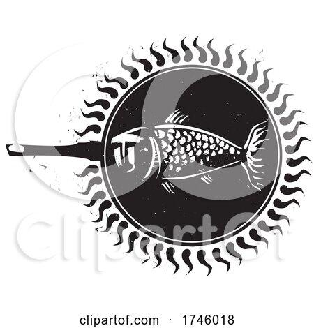 Woodcut Frying Fish by xunantunich