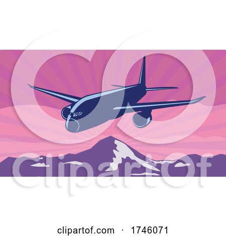 Jumbo Jet Plane or Airplane Flying over Mountains with Sunburst Done in WPA Poster Art Style by patrimonio