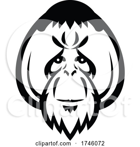 Head of an Adult Male Orangutan with Distinctive Cheek Pads or Flanges Front View Mascot Retro Style by patrimonio