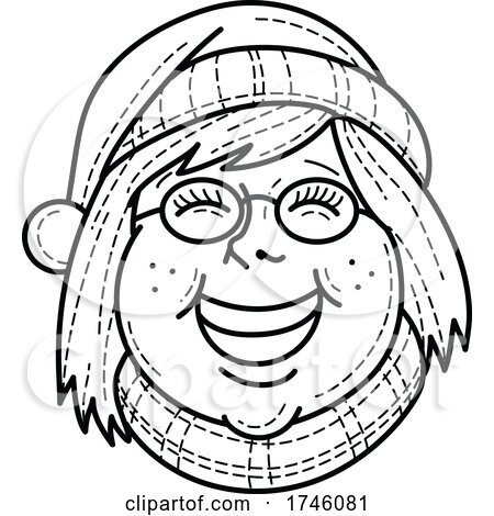Head of Girl Wearing Santa Hat and Scarf Smiling and Singing Christmas Carol Viewed from Front in Mono Line Black and White Retro Style by patrimonio