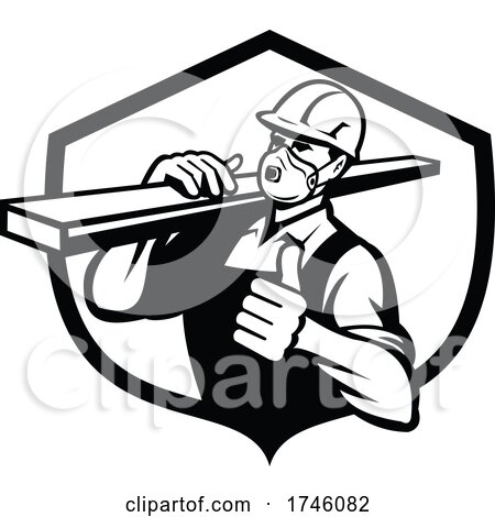 Carpenter Wearing Particulate Respirator Carrying Lumber with Thumbs up Set in Shield Retro Style by patrimonio