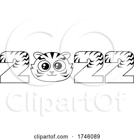 New Year 2022 Numbers wIth a Cute Tiger Face by Hit Toon