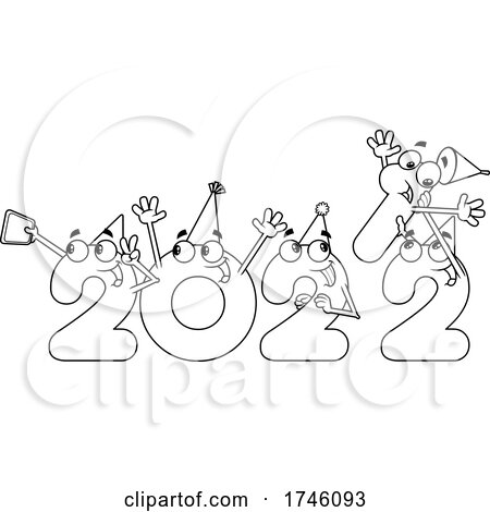 New Year 2022 Numbers Partying and Removing the 1 by Hit Toon