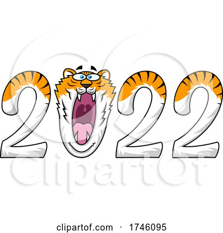 New Year 2022 Numbers wIth a Roaring Tiger Zero by Hit Toon