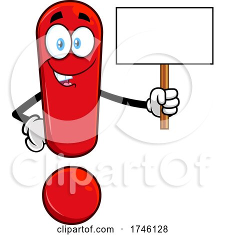 Exclamation Point Character Holding a Blank Sign by Hit Toon