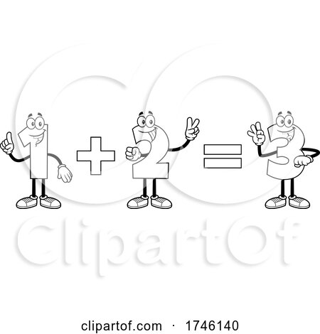 Cartoon Numbers Adding 1 Plus 2 Equals 3 by Hit Toon