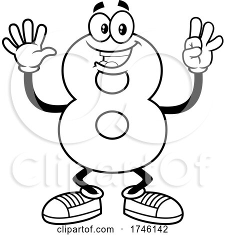 Cartoon Number 8 Character Gesturing Eight by Hit Toon
