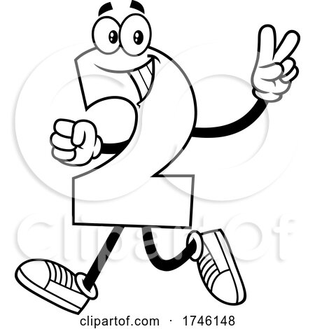 Cartoon Number 2 Character Gesturing Two by Hit Toon
