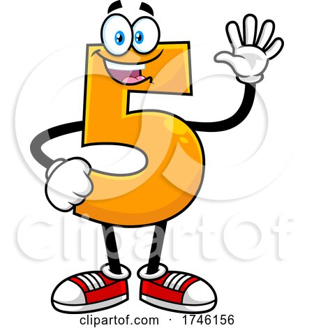 Cartoon Number 5 Character Gesturing Five by Hit Toon